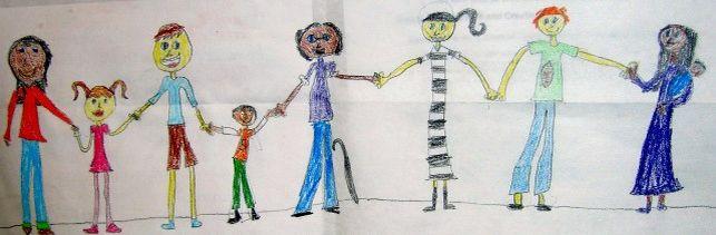 Dibujo infantil de un grupo de personas